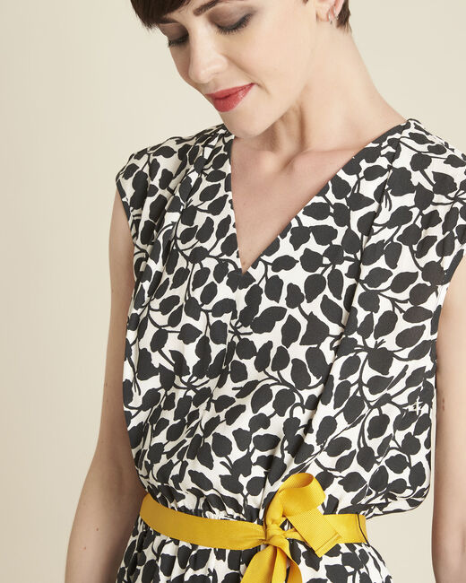 Dallas leaf-print dress with grosgrain belt (2) - 1-2-3