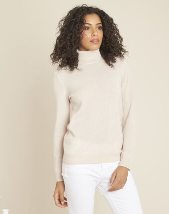 Perceneige pink polo-neck cashmere sweater powder.