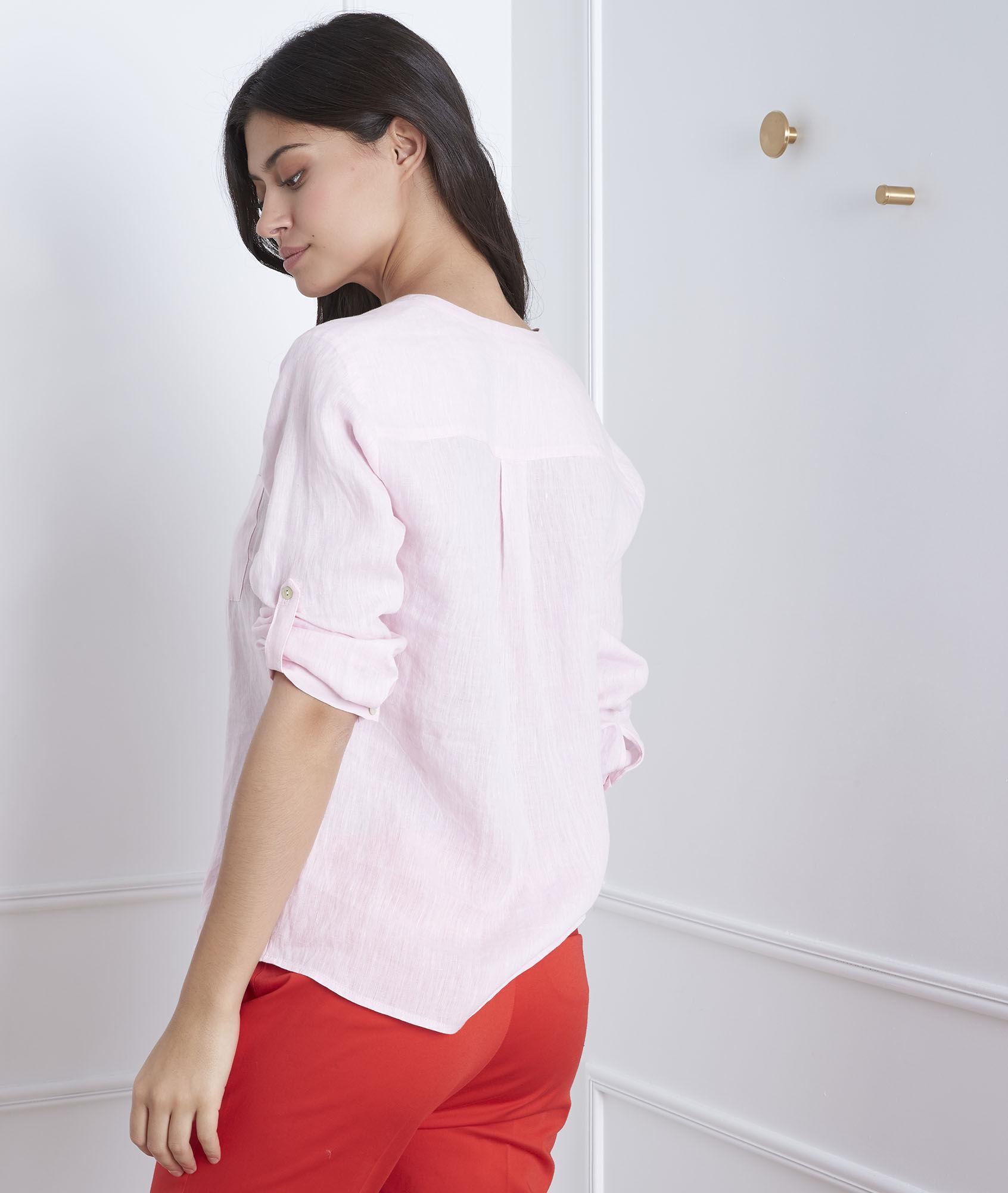 Roze hemd van linnen Roma Dames | Maison 123