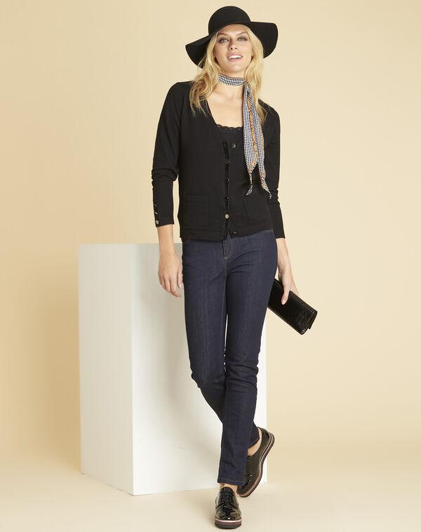 Zwarte vest met fluwelen ripsweefseldetail Bettina (2) - 37653