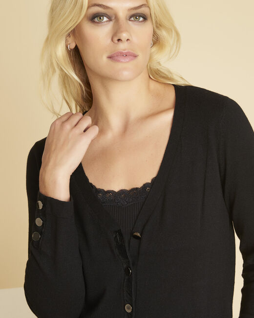 Bettina black cardigan with velour grosgrain detailing (2) - 1-2-3