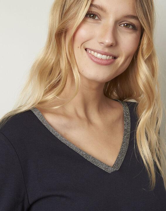 Etincelante navy lurex V-neckline T-shirt (4) - Maison 123