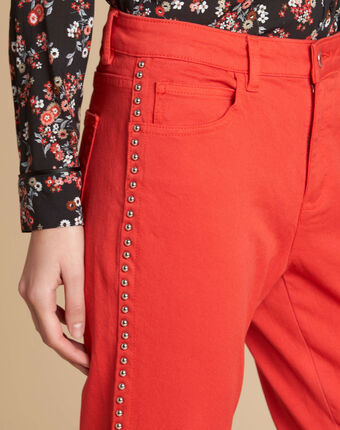 Vendôme red jeans with studded detailing red.