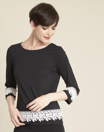 Schwarzes t-shirt mit spitzeneinsatz gentle schwarz/weiss.