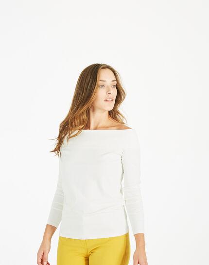 Tee-shirt blanc cassé col fantaisie Bardo (3) - 1-2-3