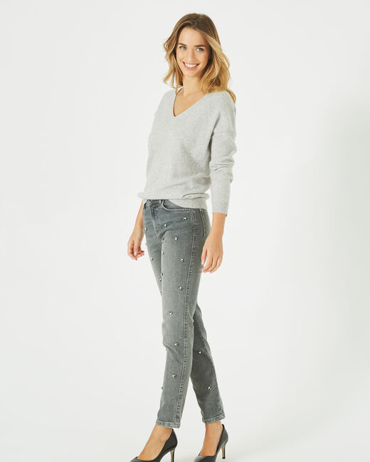 Piment grey cashmere sweater with V-neck (1) - 1-2-3