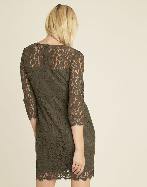 Nadine straight dress in khaki lace (4) - Maison 123