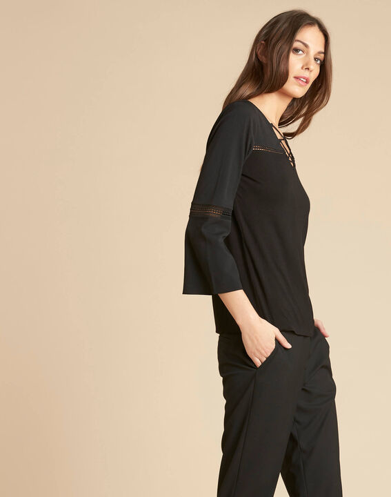 Echecs black dual-fabric blouse with lace insets (3) - 1-2-3