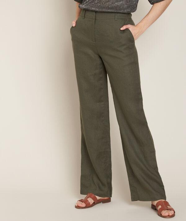 Pantalon en lin kaki Isa PhotoZ | 1-2-3