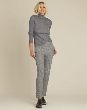 Hindy cigarette-cut jacquard trousers dark grey.