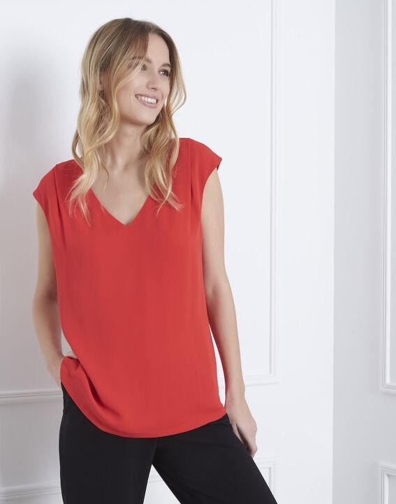 Rode blouse van twee materialen met V-hals Neptune PhotoZ | 1-2-3