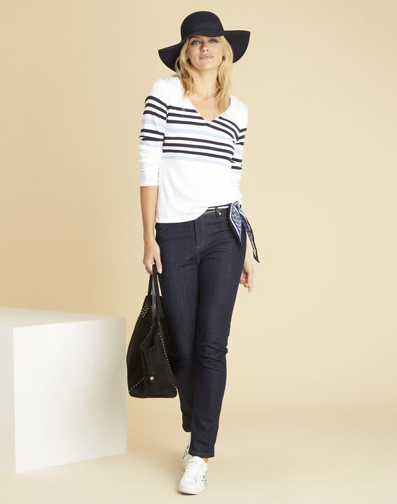 Gayure white striped T-shirt with V-neckline (2) - Maison 123