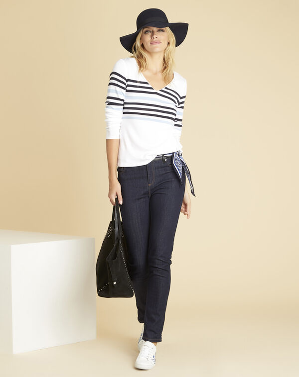 Gayure white striped T-shirt with V-neckline (2) - 1-2-3