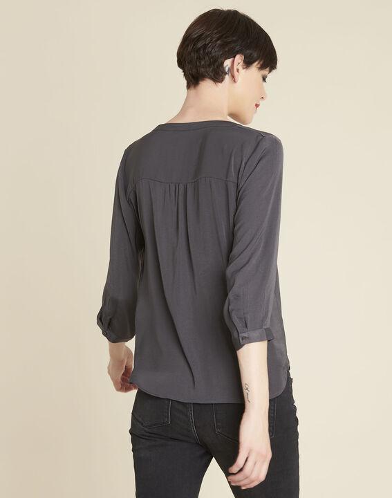 Antracietgrijze blouse met fantasiehals Cassy (2) - 37653