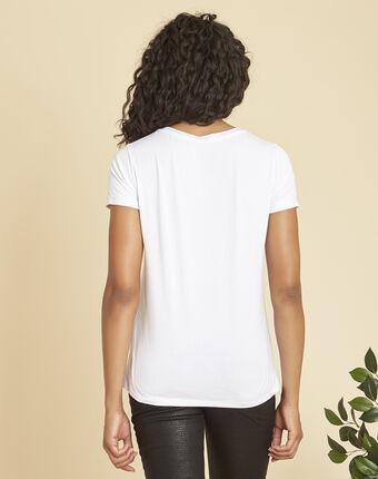 Wit t-shirt met vergulde zeefdruk expect blanc.