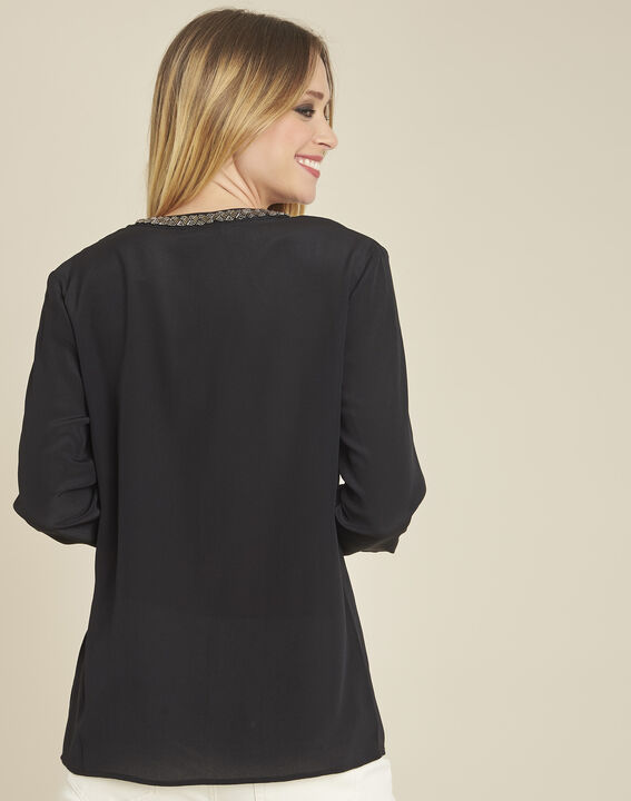 Celeste pleated black silk blouse with decorative neckline (4) - 1-2-3
