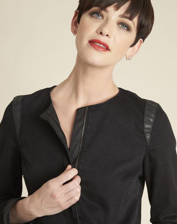Schwarze Jeansjacke mit Kunstleder-Schrägband Saxo (2) - 1-2-3