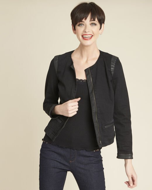 Saxo black denim jacket with faux-leather trim (2) - 1-2-3