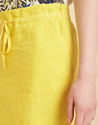 Jupe jaune en lin à cordon lumio citron.
