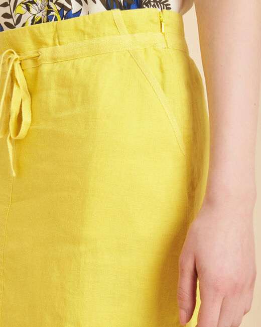 Lumio yellow linen skirt with tie (2) - 1-2-3