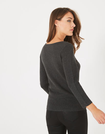 Pluie charcoal sweater with diamanté detailing and rounded neckline (4) - 1-2-3