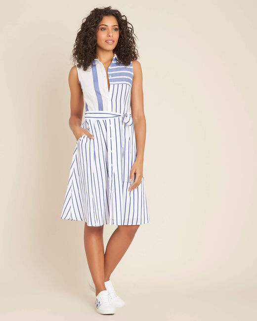 Kleid mit blauen Streifen Polka (2) - 1-2-3