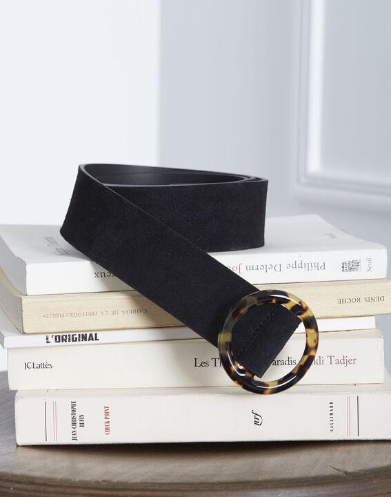 Ceinture noire en cuir effet velours boucle écaille Karla (1) - Maison 123