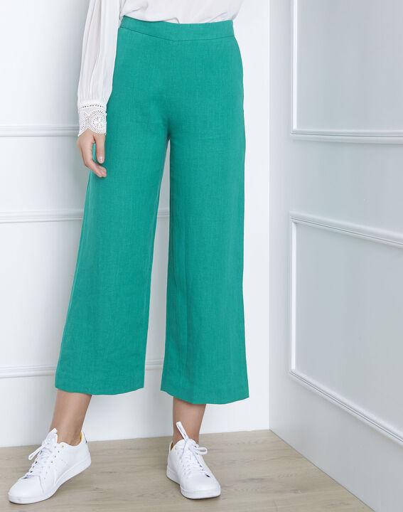 Pantalon vert court en lin Ghazala (2) - Maison 123