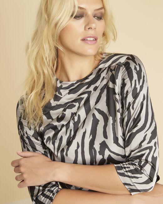 Grijze jurk met dierenprint Diandra (1) - 37653