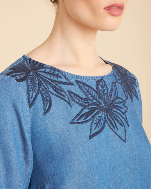 Portorico indigo embroidered dress with pagoda sleeves (2) - 1-2-3