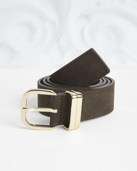 Rime velvet-effect dark chestnut leather belt (2) - 1-2-3
