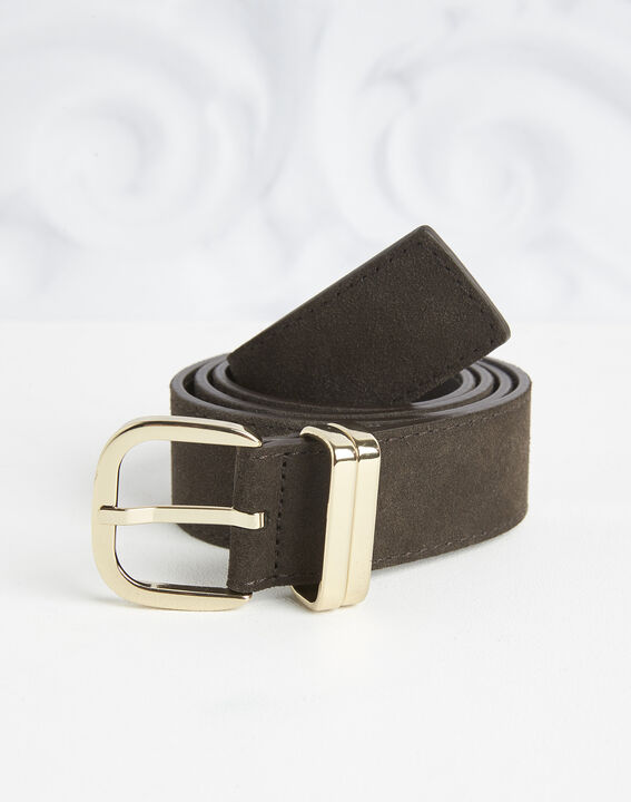 Rime velvet-effect dark chestnut leather belt PhotoZ | 1-2-3
