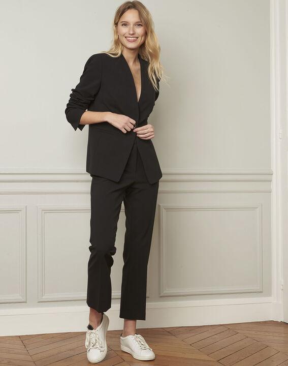 Majeste black tailored microfibre jacket (2) - Maison 123