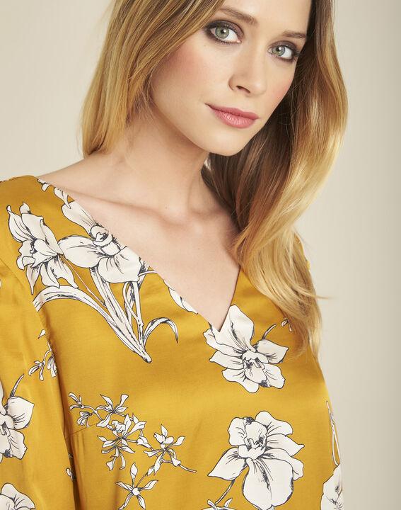 Gele jurk met bloemenprint en strik achteraan Narma (3) - 37653