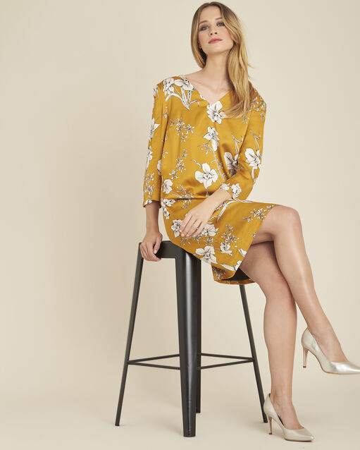 Robe jaune imprimé fleuri noeud dos Narma (2) - 1-2-3