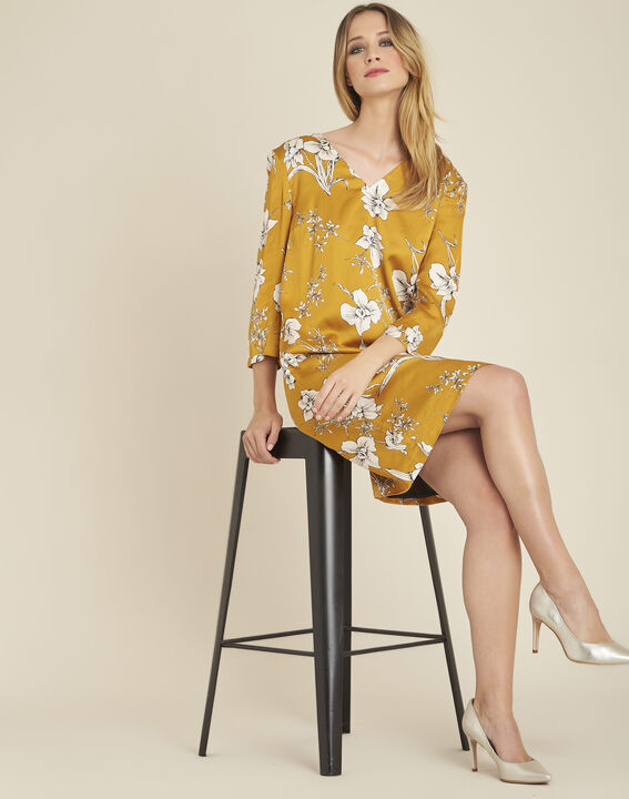 Narma yellow floral printed dress with tie at the back (3) - 1-2-3
