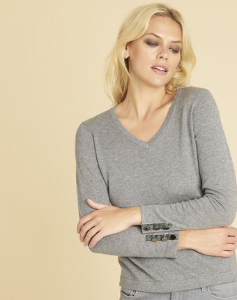 Beth grey cashmere mix sweater with v-neckline mid chine.