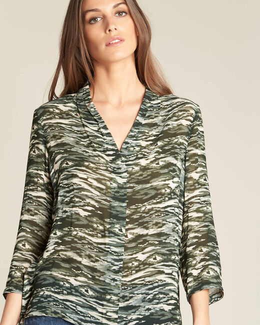 Blouse kaki imprimé camouflage Bianca (2) - 1-2-3