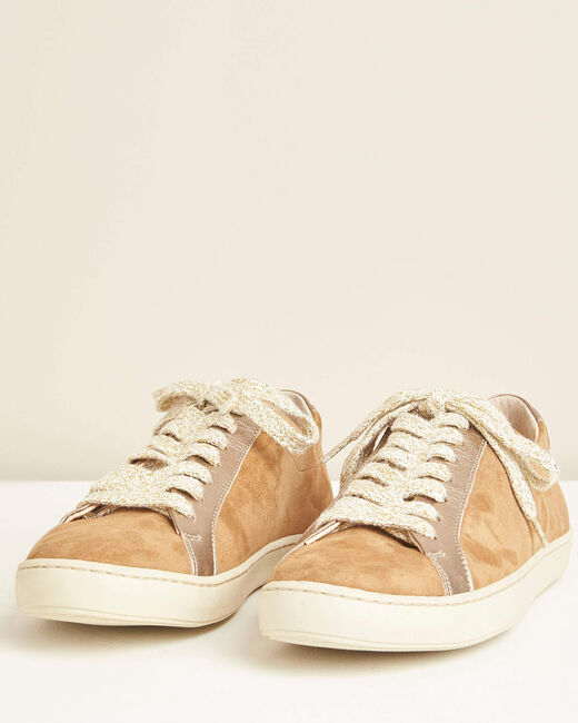 Camelfarbene Sneakers im Materialmix Kamille (2) - 1-2-3