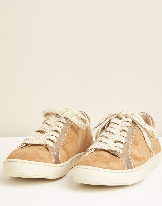 Kamille dual-fabric camel trainers (3) - 1-2-3