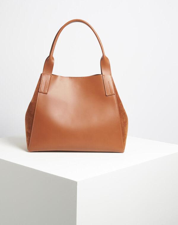 Camelfarbene Handtasche im Materialmix Doddy (1) - 1-2-3