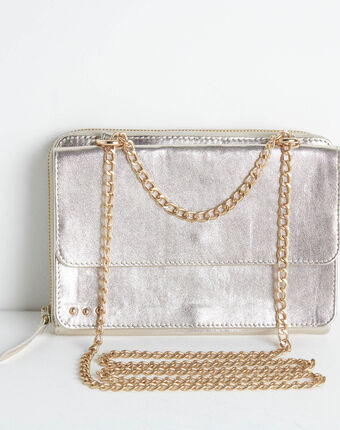 Darling grained leather bag with chain gold.