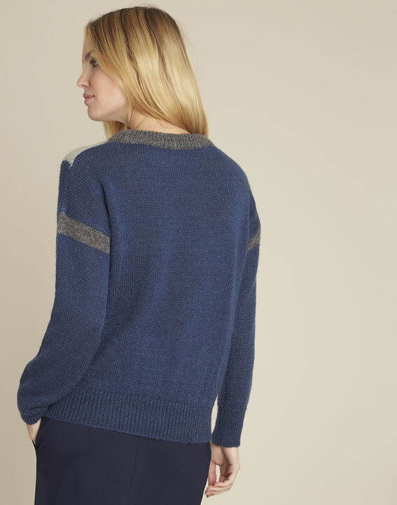 Pull marine colorblock mohair Bise (4) - 1-2-3
