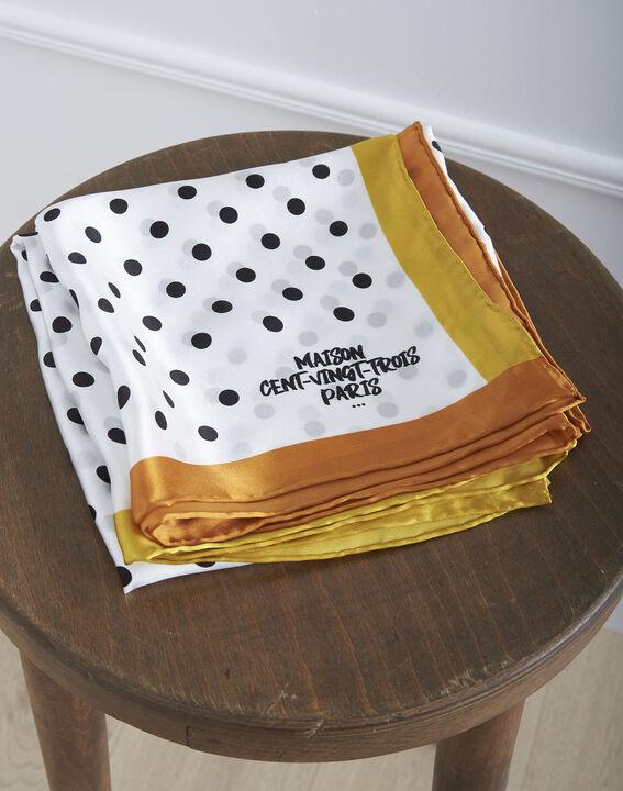 Carré de soie anis imprimé pois Ornella (1) - Maison 123