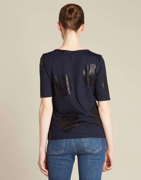 Tee-shirt bleu marine imprimé pois Bonnie (4) - 1-2-3