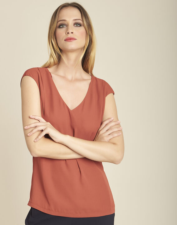 Neptune terracotta dual-fabric nude blouse with V-neck (1) - 1-2-3