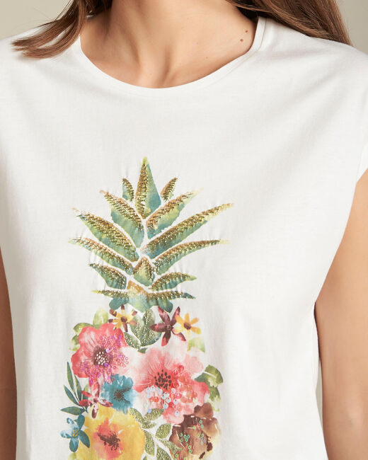 Tee-shirt écru Ananas Emerveille (1) - 1-2-3