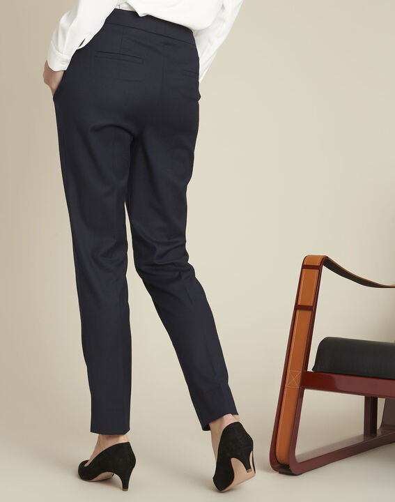 Zip-up tapered navy viscose trousers (4) - 1-2-3