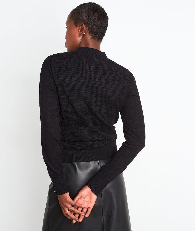 Zwarte getextureerde trui met hoge kraag en schouderplooien Trudy PhotoZ | 1-2-3