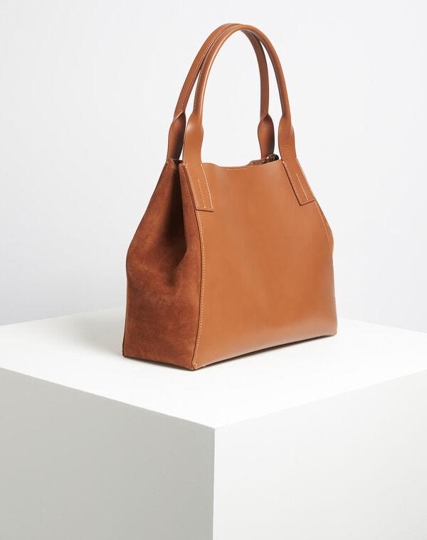Camelfarbene Handtasche im Materialmix Doddy (2) - 1-2-3